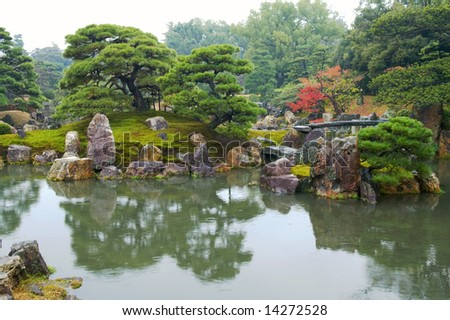 Beautiful Japanese garden with trees and pond