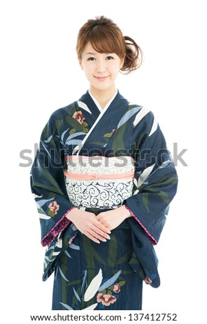 Beautiful japanese kimono woman isolated on white background - stock photo