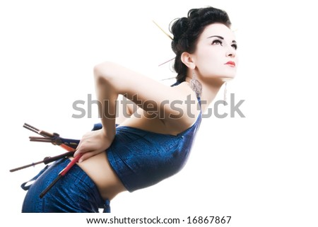 Beautiful Japanese lady, isolated on white background - stock photo