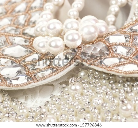 Beautiful jewelry collar on dress - stock photo