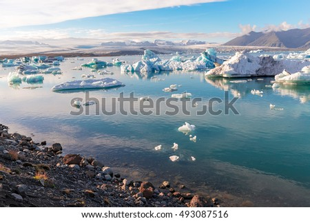 Beautiful Jokulsarlon glacier lagoon, view of icebergs floating, Iceland scenery