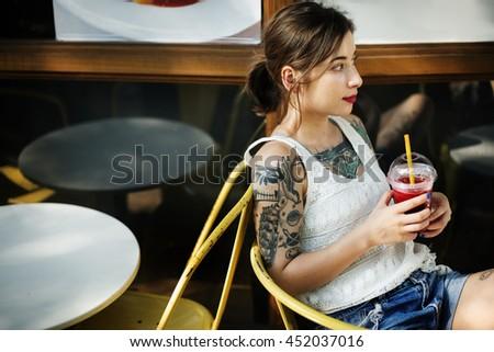 Beautiful Juice Relaxation Tattoo Vacation Joy Concept - stock photo