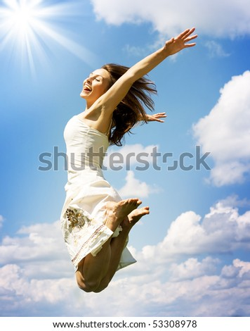 Beautiful Jumping Girl - stock photo