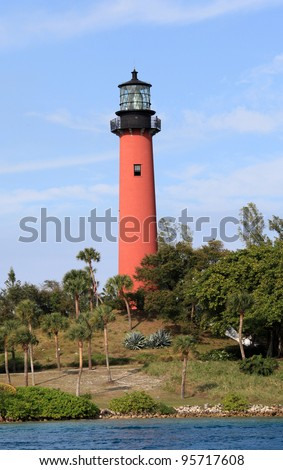 Beautiful Jupiter Lighthouse and waterway in South Florida - stock photo