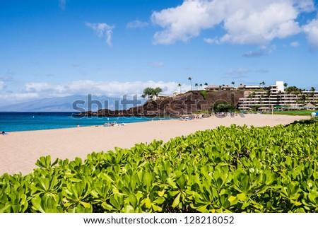 Beautiful Kaanapali of Maui Hawaii in the morning - stock photo