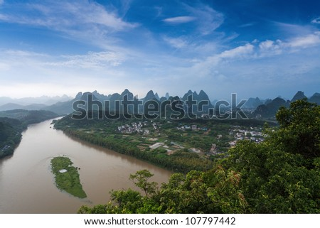 beautiful karst landform and the lijiang river after the rain in yangshuo,China - stock photo