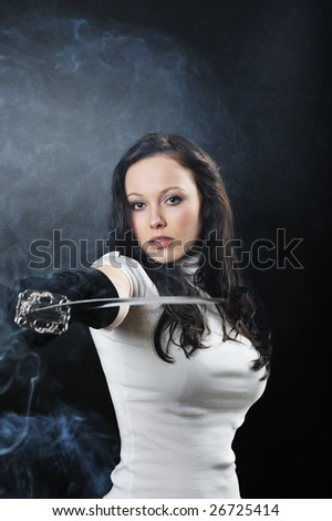 beautiful katana warrior isolated on black background - stock photo