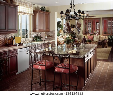 Beautiful Kitchen Architecture Stock Images, Photos of Living room, Dining Room, Bathroom, Kitchen, Bed room, Office, Interior photography - stock photo