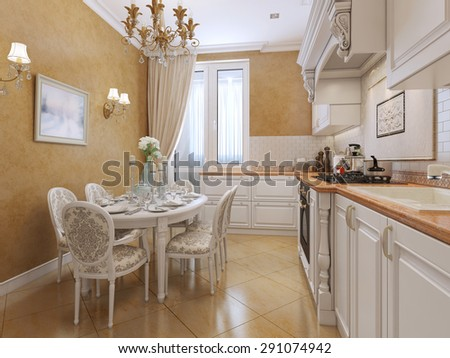 Beautiful kitchen in an art-deco style with white furniture and walls plastered with orange. With a large window. 3D render.