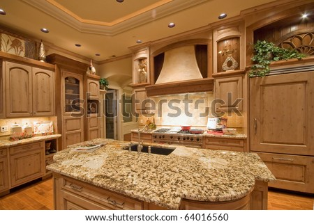 Beautiful Kitchen in Modern Home - stock photo
