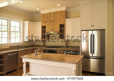 beautiful kitchen with granite - stock photo