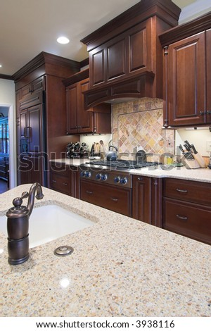 beautiful kitchen with top of the line cabinets and counters - stock photo