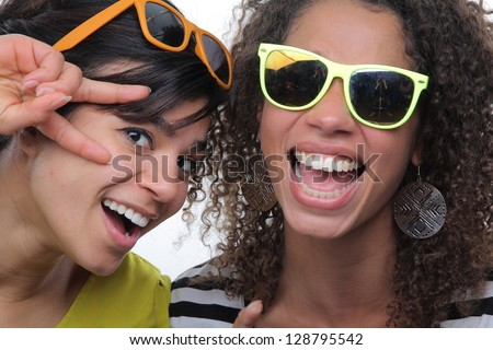 Beautiful ladies having fun - stock photo