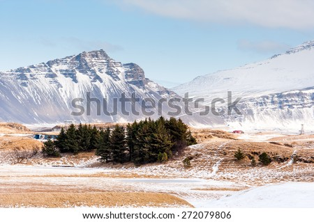 Beautiful ladnscape of  mountain and fjord at Iceland - stock photo