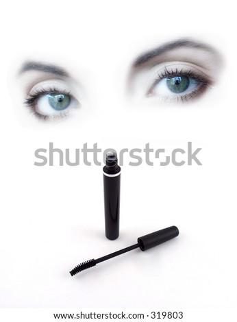 beautiful lady eyes with - stock photo