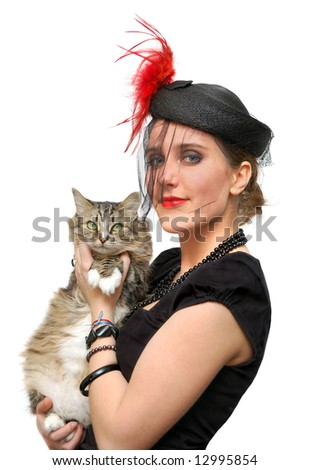 Beautiful lady in a veil with cat isolated over a white background - stock photo