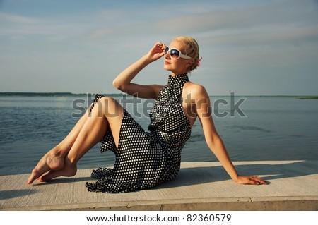 Beautiful lady outdoors - stock photo