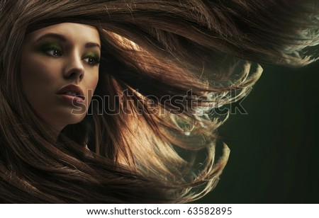 Beautiful lady with long brown hair - stock photo