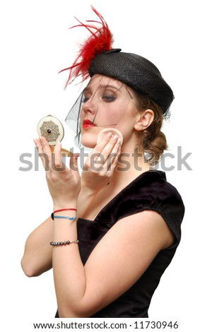 Beautiful lady with powder-box isolated over a white background - stock photo