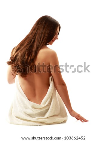 beautiful lady with wite towels on white sand