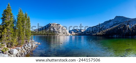 Beautiful lake and mountains reflection, Yosemite National park, California - stock photo