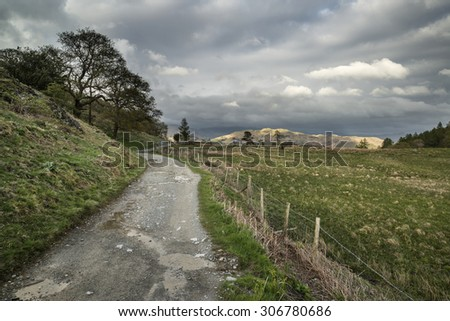 Beautiful Lake District landscape image on stormy Spring day - stock photo