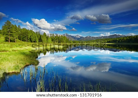 Beautiful lake in Altai mountains - stock photo
