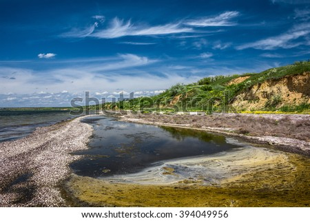 beautiful lake landscape in summer, eco tourism in the countryside, estuary of tylihul