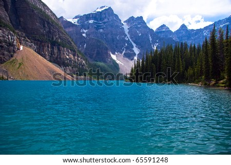 Beautiful lake Moraine in Canadian Rockies, Alberta - stock photo