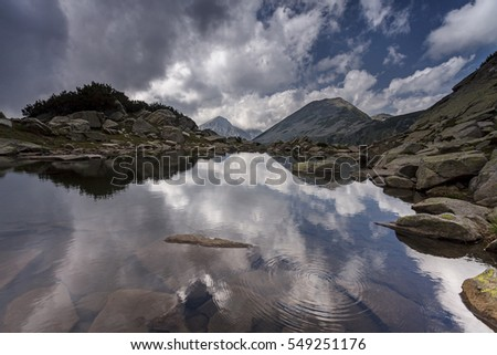 Beautiful lake mountain landscape from Pirin Mountains, Bulgaria