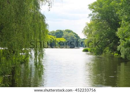Beautiful lake on summer - stock photo