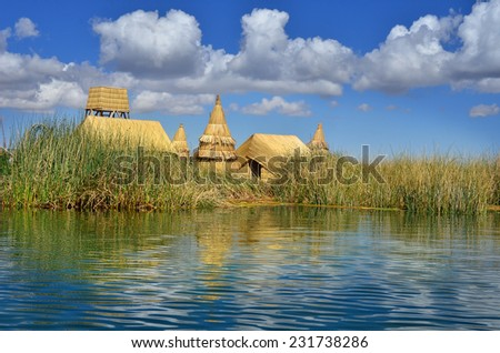 Beautiful lake Titicaca in Peru, highest navigable lake in the world  - stock photo