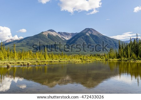 Beautiful Lake Vermilion in the mountains of Banff National Park. Mountains and lakes. The Canadian province of Alberta. Concept of active tourism and ecotourism