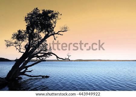 Beautiful Lake Weyba at sunset on the Sunshine Coast, Queensland, Australia - stock photo