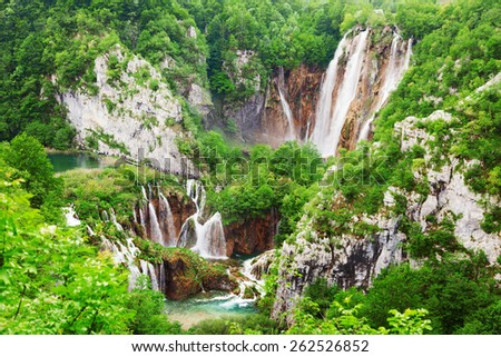 Beautiful lakes of Plitvice Lakes National Park in Croatia in the spring