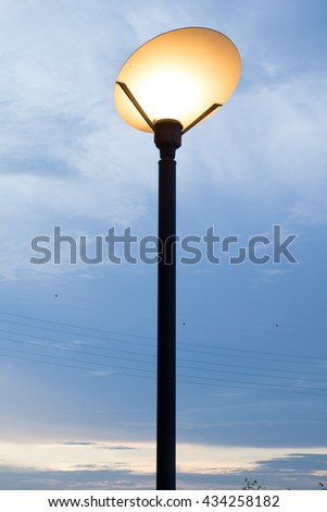 Beautiful lamp at sunrise.