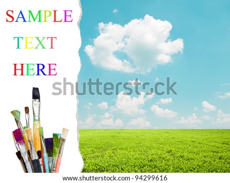 Beautiful landscape and colorful paint brushes - Painting concept - stock photo