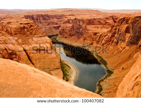 Beautiful landscape at the Grand Canyon with the Colorado River - stock photo