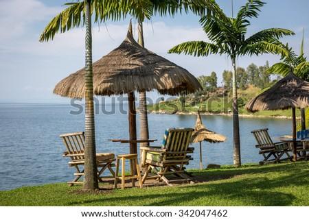 Beautiful landscape at the lake kivu edge in Rwanda, East Africa - stock photo