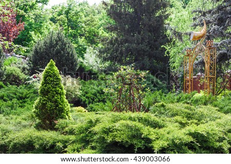 Beautiful landscape design, evergreen trees and shrubs in sunlight. Modern landscaping: Fir trees, spruces, arborvitae, thuja, metal arch, evergreen shrubs abd bushes. Summer garden or park design. - stock photo