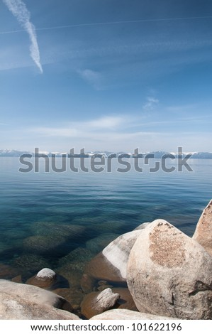 Beautiful landscape during winter time at the Lake Tahoe shore in California - stock photo