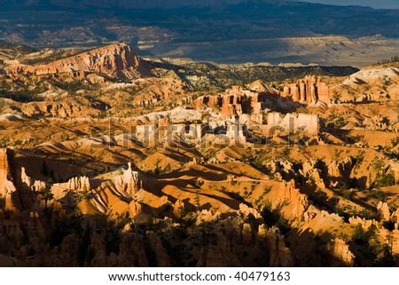 beautiful landscape in Bryce Canyon with magnificent Stone formation like Amphitheater, temples, figures