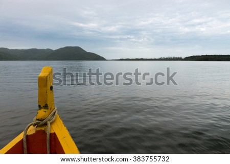 Beautiful landscape in Conceicao lagoon in Florianopolis with boat bow heading to the port, Santa Catarina, Brazil. This city is one of the main tourists destination in south region.