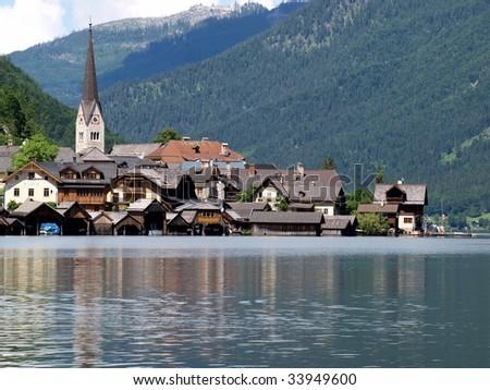 Beautiful landscape in Hallstatt town of Austria.  - stock photo