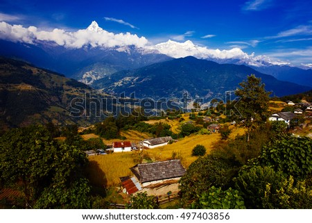 Beautiful landscape in Himalayas, Annapurna area, Nepal