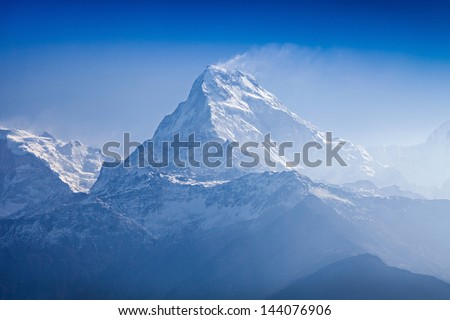 Beautiful landscape in Himalays, Annapurna region, Nepal - stock photo