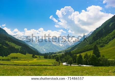 Beautiful landscape in the Alps in Nationalpark Hohe Tauern, Salzburger Land, Austria - stock photo