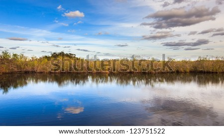 Beautiful landscape in the Everglades National Park, Florida. - stock photo