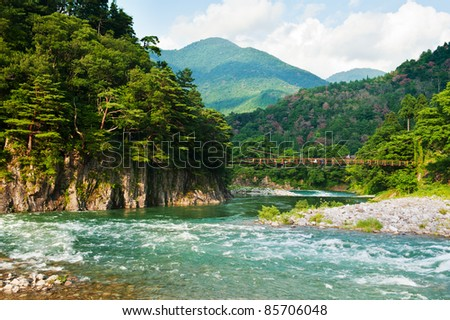 Beautiful landscape in the Japanese mountains with a wild river, red bridge and rock covered by typical pines - stock photo