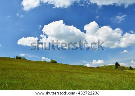 Beautiful landscape in the mountains in summer. Czech Republic - the White Carpathians - Europe. Beautiful summer mountain landscape with blue sky and clouds.